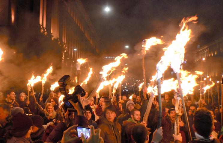 Итальянские студенты в Риме поддержали киевский Евромайдан ФОТО